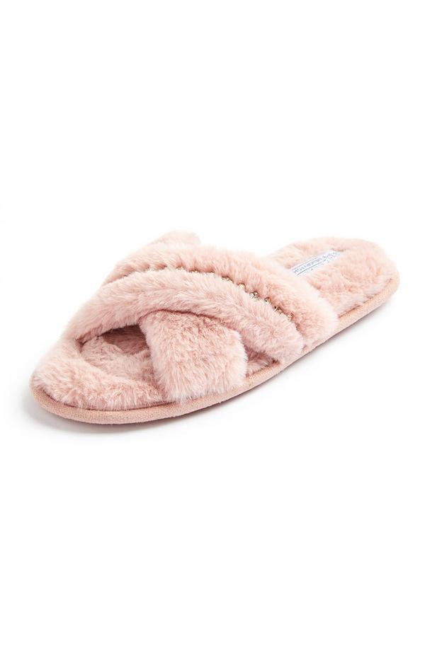 Roze slippers van imitatiebont met gekruiste bandjes