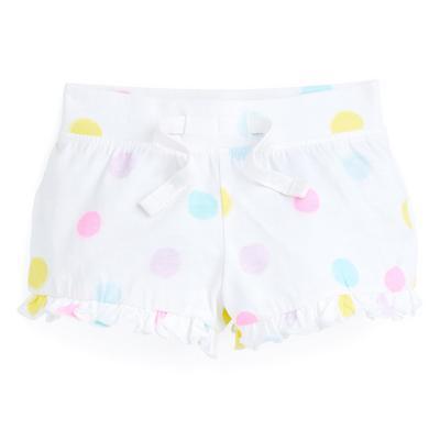 Baby Girl White Polka Dot Print Shorts