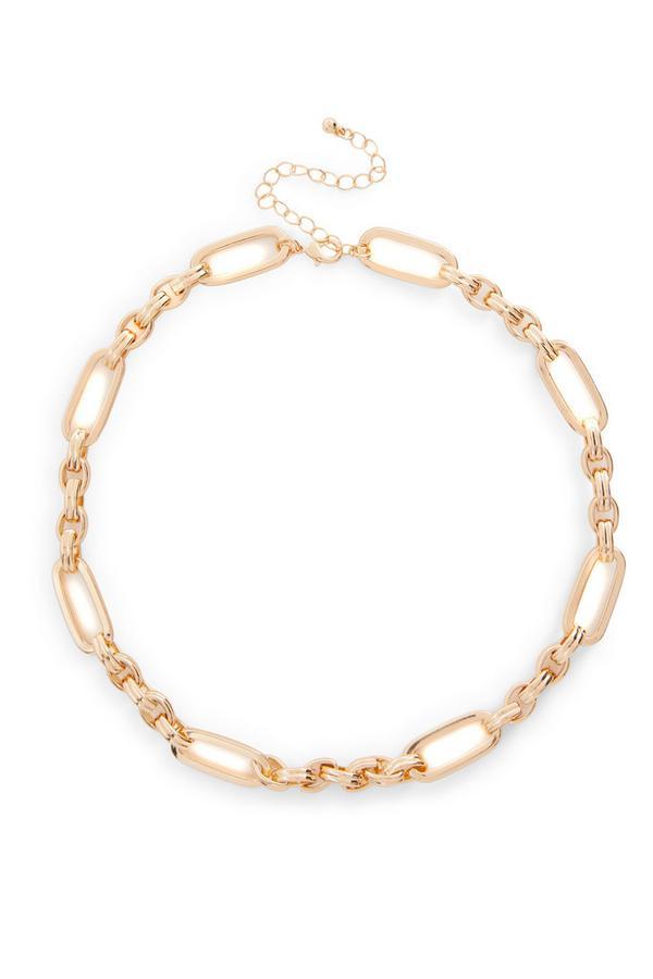 Goldtone Bar Link Chain Necklace