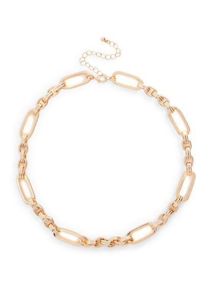 Goldtone Bar Link Chain Necklace