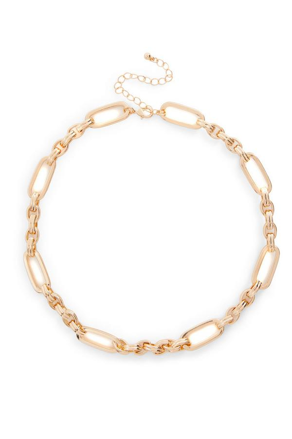 Goudkleurige halsketting met kettingschakels