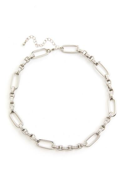 Silvertone Chunky Bar Link Chain Necklace