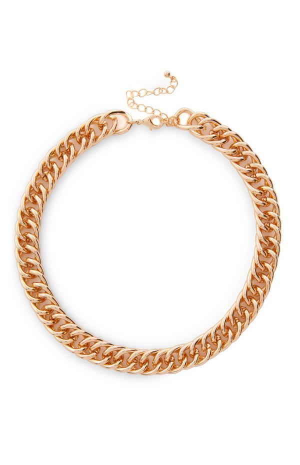 Collar dorado de cadena gruesa, plana y trenzada