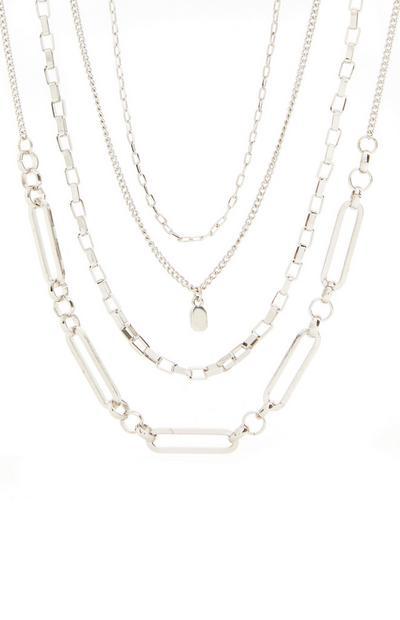 Silvertone Multi Row Delicate Chain Necklace