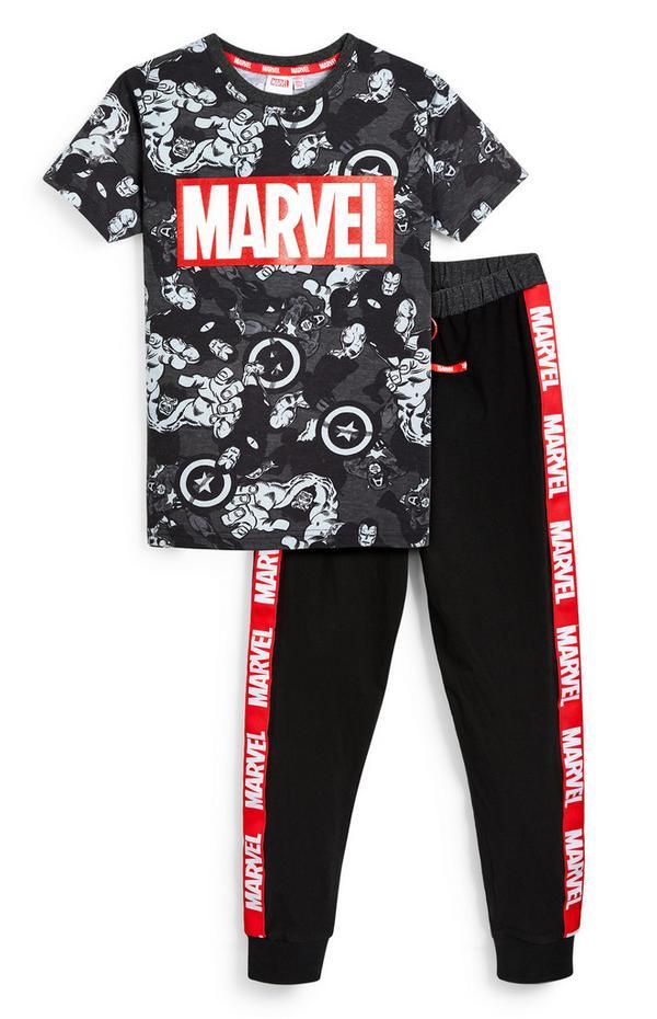 Older Boy Black Marvel Print T-Shirt And Leggings 2 Piece Set