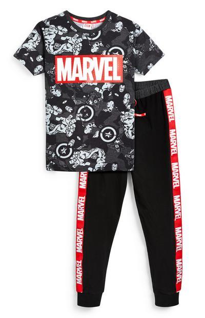 T-shirt e leggings neri con stampa Marvel da ragazzo
