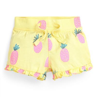 Baby Girl Yellow Pineapple Print Shorts