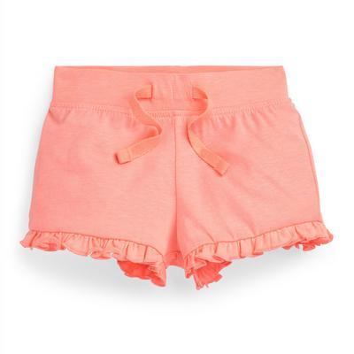 Baby Girl Coral Frill Hem Shorts