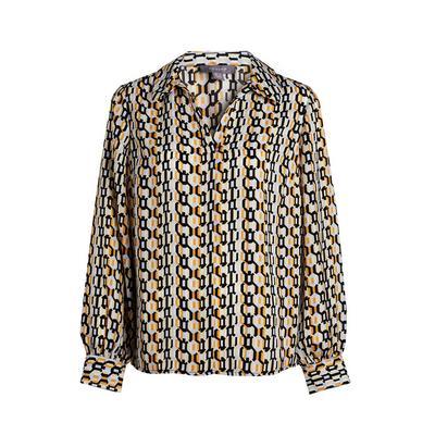 Gold Pattern Overhead Open Collar Blouse