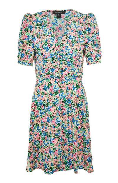Multicolour Floral Rouched Waist Mini Dress
