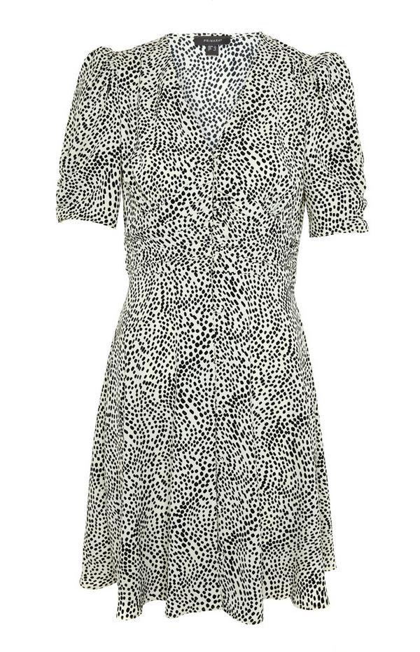Monochrome Dot Pattern Rouched Waist Mini Dress