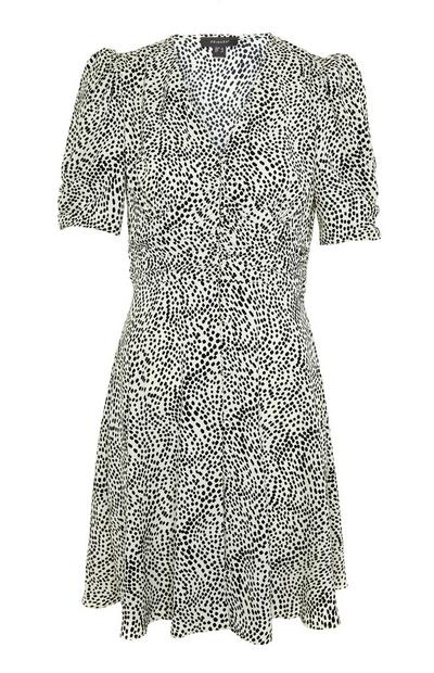 Monochrome Dot Pattern Rouched Waist Mini Dress
