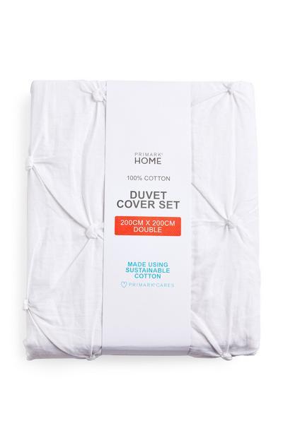 White Diamond Pleated Double Duvet Cover Set