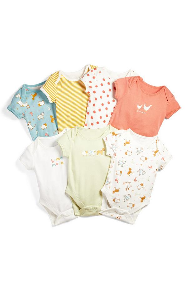 Newborn Baby Farm Animal Print Shortsleeve Bodysuit 7 Pack