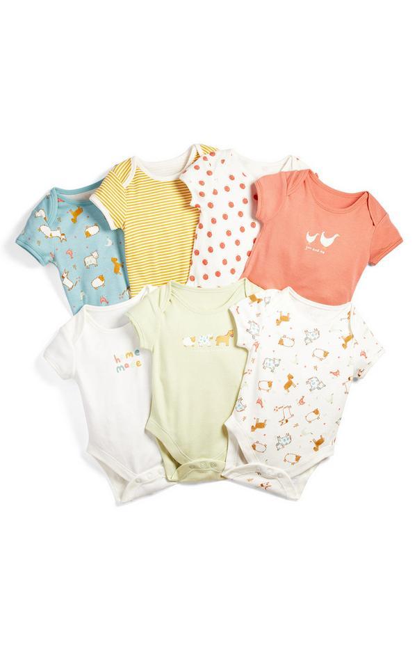Bodiji s kratkimi rokavi s potiskom domačih živali za novorojenčke, 7 kosov