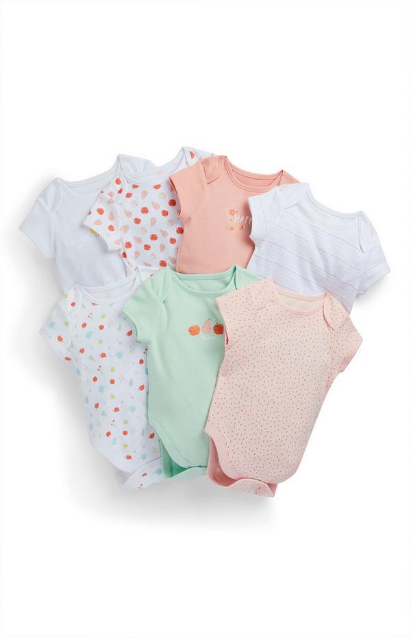 Newborn Baby Girl Veggie Patch Bodysuits 7 Pack