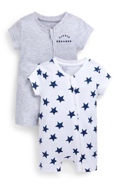Lot de 2 barboteuses grise et blanche à imprimé étoiles bébé garçon