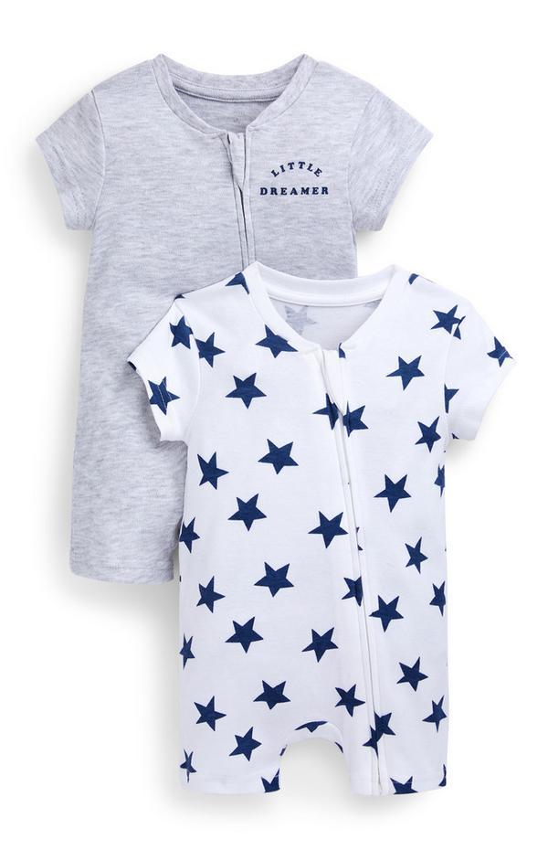 Korte grijze en witte jumpsuits met sterrenprint voor baby's (jongens), set van 2