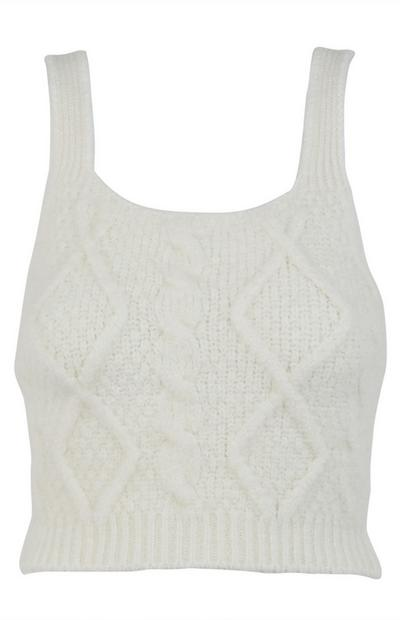 Ivory Cable Knit Bralet