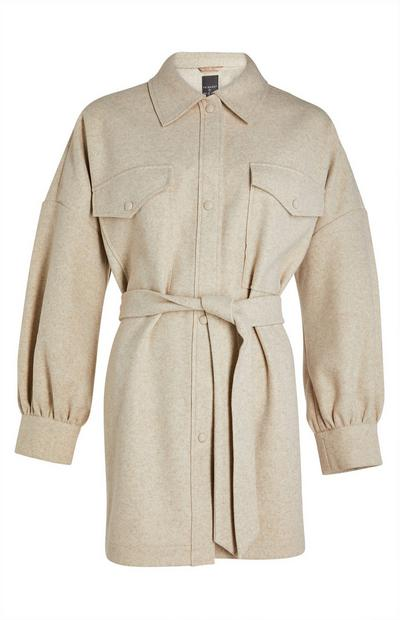 Cream Belted Fleece Shacket