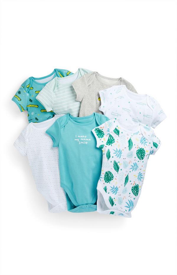 Newborn Baby Boy Crocodile Print Bodysuits 7 Pack