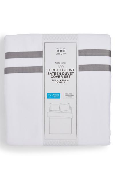Grey Border White 300 Thread Count Double Duvet Cover Set