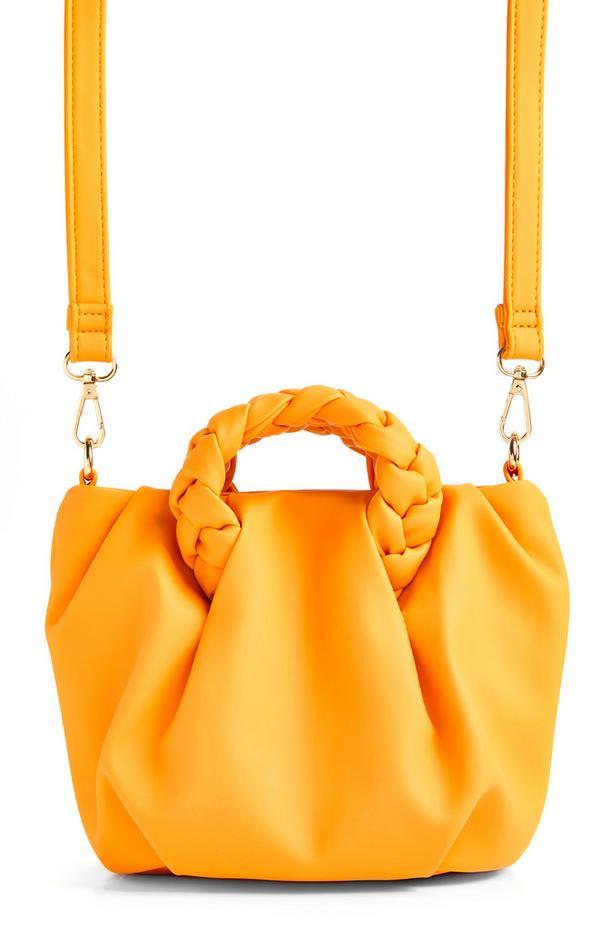 Borsa a tracolla arancione con manico intrecciato