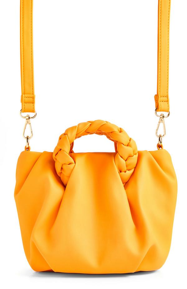 Oranje crossbodytas met gevlochten handvat