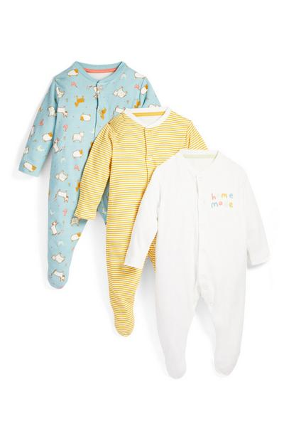 3-Pack Newborn Baby Farm Animal Print Sleepers