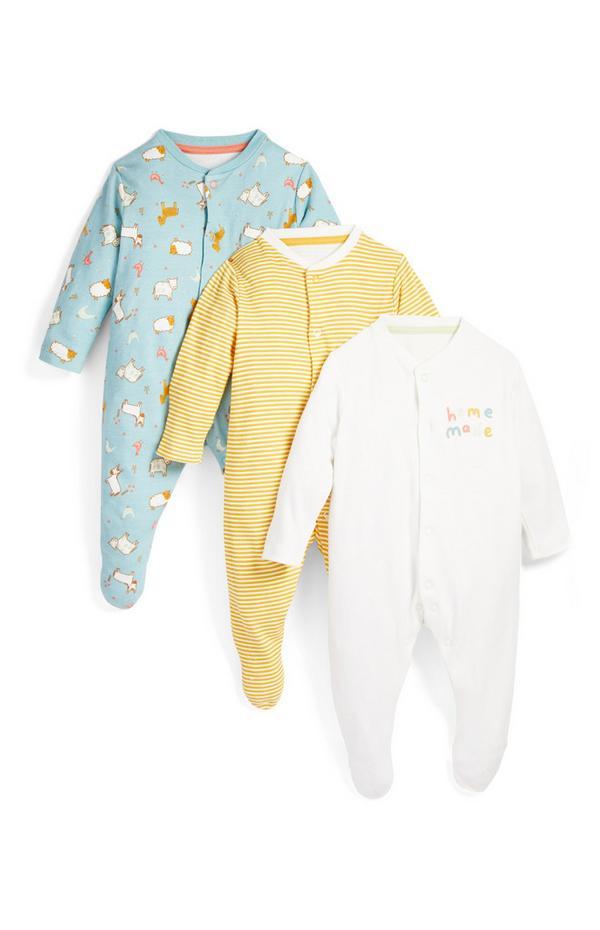 Pack de 3 pijamas con estampado de animales de granja para bebé recién nacido
