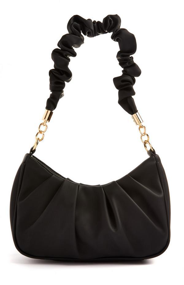 Velika črna nabrana torba za čez ramo