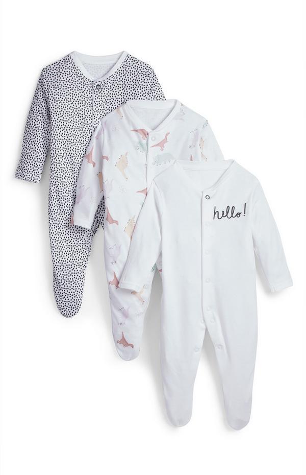 Newborn Baby Pastel Play Bodysuits 3 Pack
