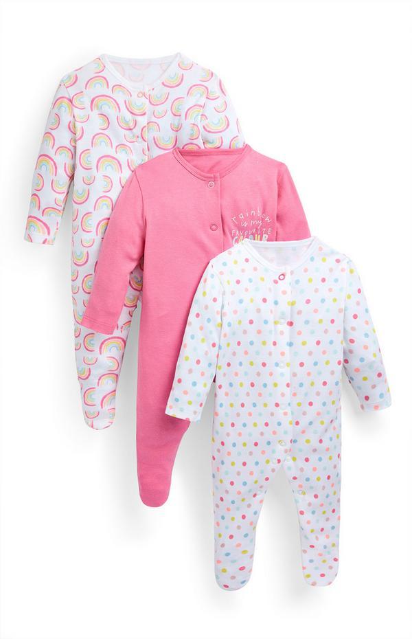 Pack de 3 monos cortos rosa y con estampado de arcoíris para bebé niña