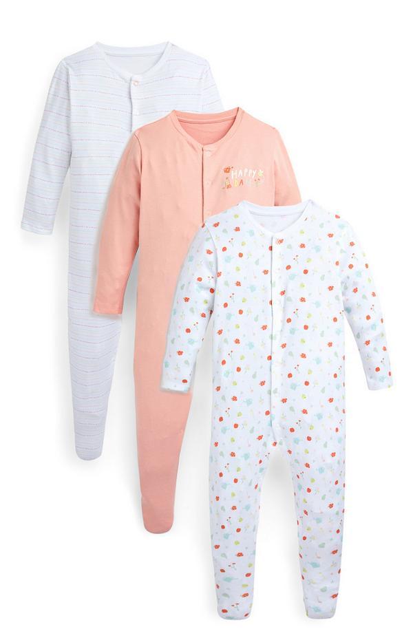 Babyslaappakjes voor meisjes, perzikroze en fruitprint, set van 3