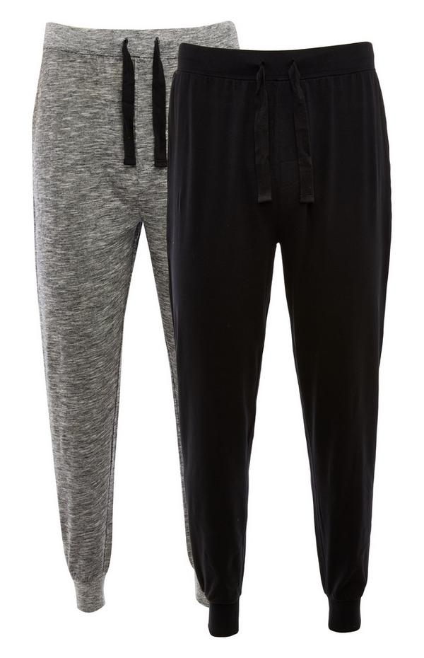 2-Pack Gray And Black Jersey Joggers