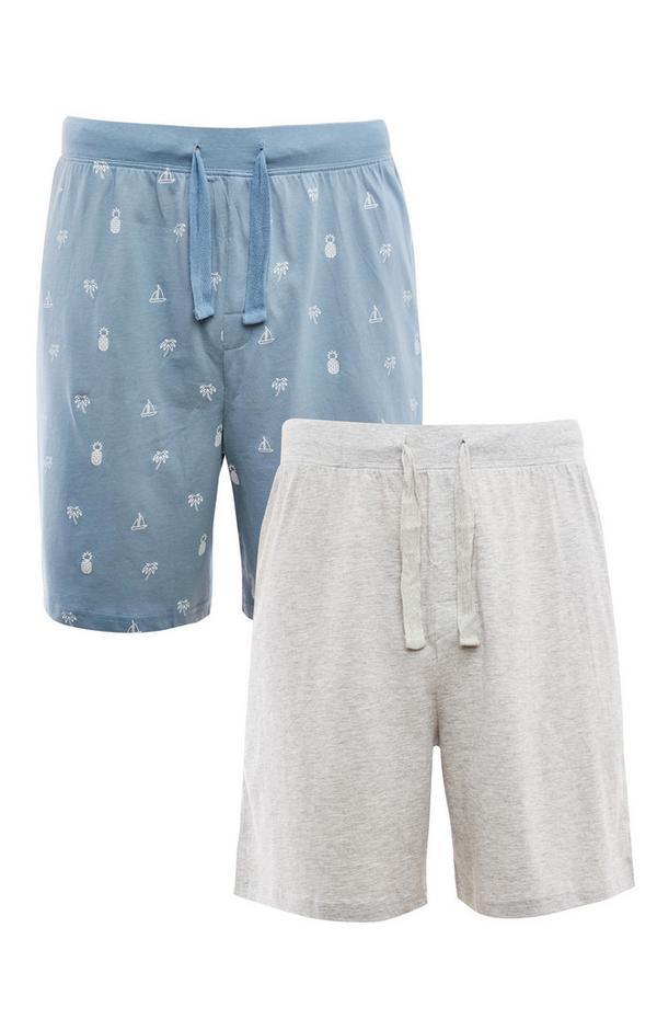 Blauwe en ecru jerseyshort, set van 2