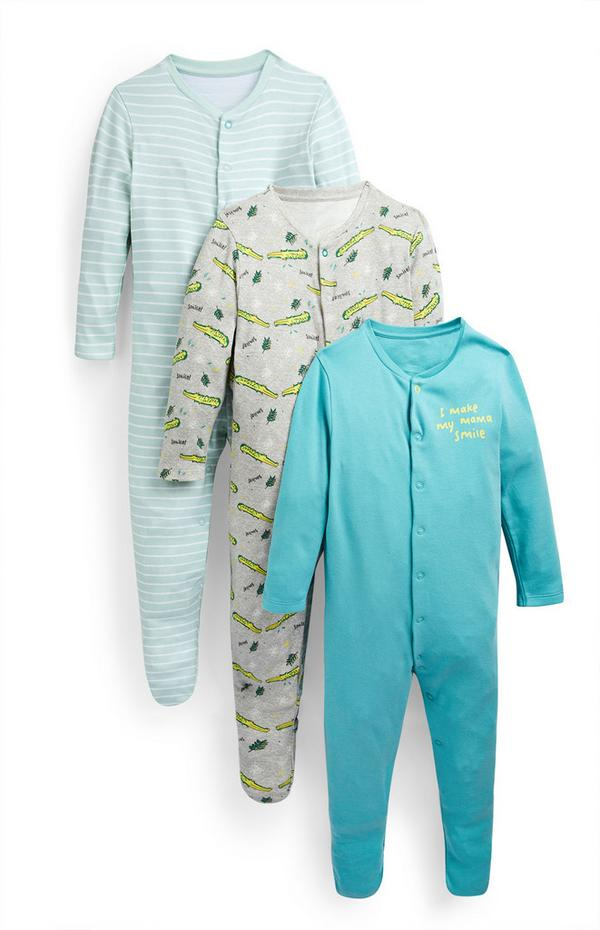Baby Boy Blue Crocodile Print Sleepsuits 3 Pack