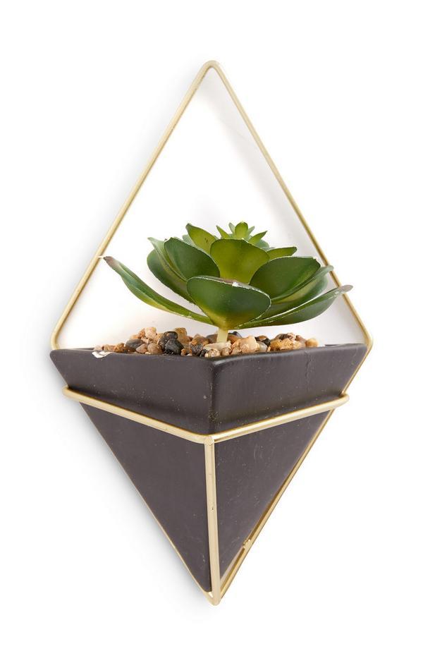 Vaso piccolo color oro da appendere alla parete con pianta artificiale
