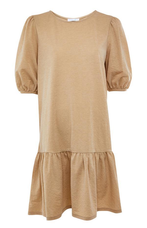 Camelkleurige mini-jurk van jersey met ballonmouwen