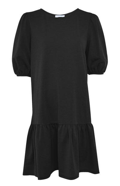 Black Balloon Sleeve Tiered Jersey Mini Dress