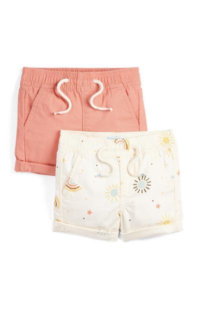 Marelično-krem vzorčaste dekliške kratke hlače iz poplina za dojenčke, 2 kosa