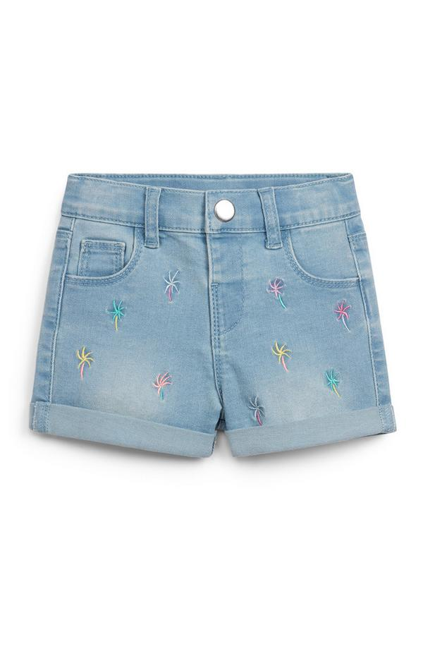 Baby Girl Blue Embroidered Denim Shorts