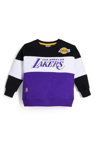 Younger Boy Purple NBA LA Lakers Crew Neck Sweatshirt