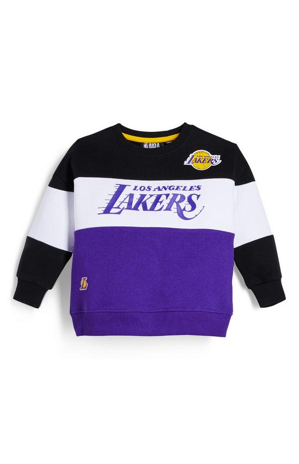 Younger Boy Purple NBA LA Lakers Crew Neck Sweatshirt