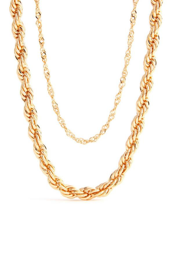 Zweireihige goldfarbene Halskette in verdrehter Optik