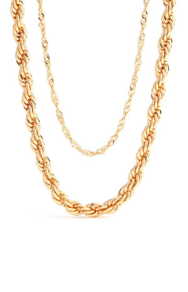 Collar dorado de doble cadena trenzada