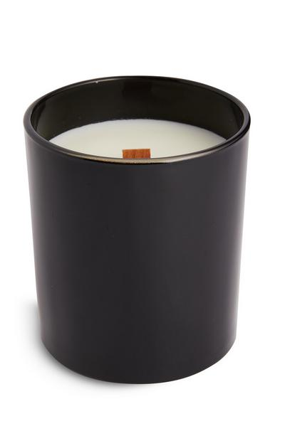 Black Single Wick Crackle Votive Candle