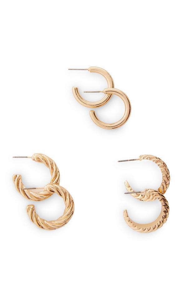 3 paia di orecchini a cerchio medi spessi e intrecciati color oro
