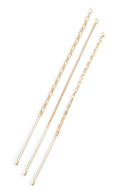 Goldtone Mix Chain Bracelets 3 Pack