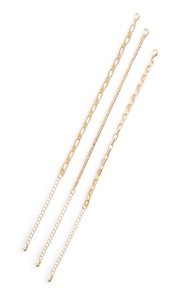 Pack 3 pulseiras corrente sortidas dourado